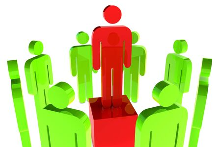 Leadership concept with red character in the middle of green character photo