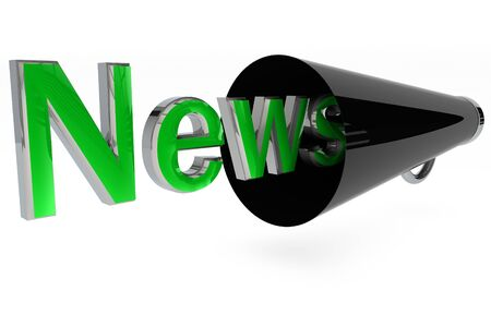 News word with a black megaphone on white background Stock Photo - 9004793