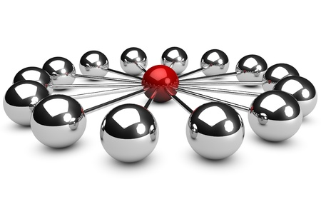 3d network concept on white background with a red sphere photo