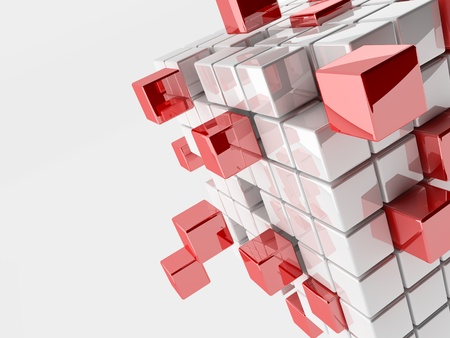 Abstract 3d illustration of cubes with red cubes
