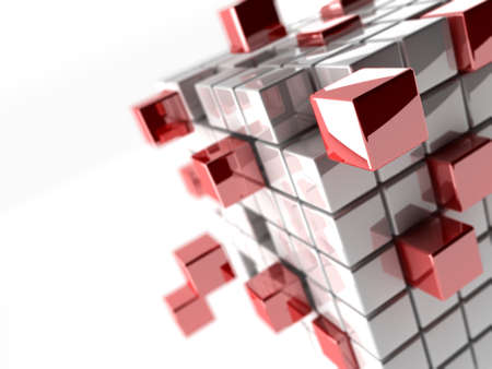 the depth: Abstract 3d illustration of cubes with depth of focus effect