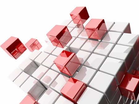 Abstract 3d detail illustration of cubes on white background