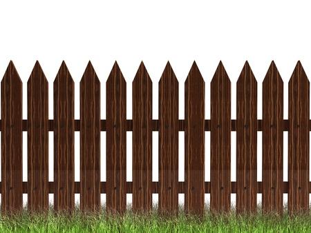 3D trawy drewnianych fencewit brązowego zielony samodzielnie na biały