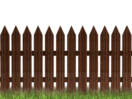 picket fence: 3d wooden brown fencewit green grass  isolated on white