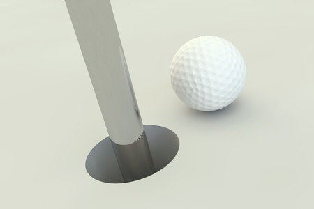 3d golf ball standing to the hole photo