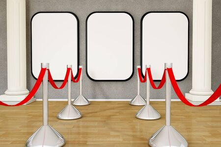 velvet rope barrier: Gallery room with empty frames on wall with column Stock Photo