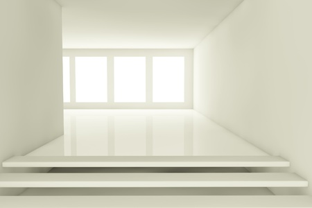3d render of a empty abstract room with windows photo