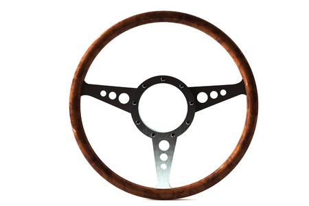 Old retro Steering wheel ioslated on white background