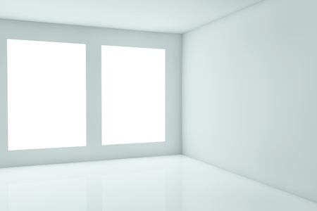 the white wall: 3d rendering of a corner with windows Stock Photo