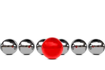 Leadership concept with red and chrome spheres