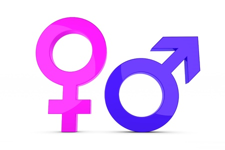 male female symbol: 3d render of a femal and male sign Stock Photo