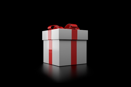 Gift box with red ribbon on a black background