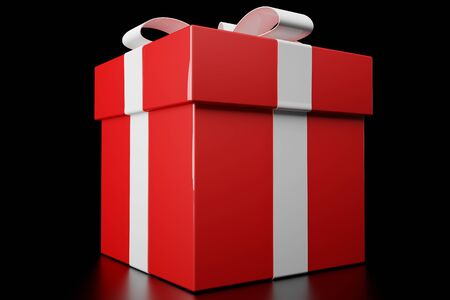 3d render of a red gift box on black background