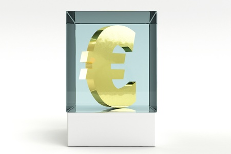 display case: 3d render of a euro with a display case Stock Photo