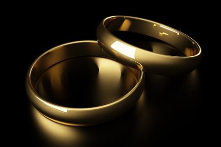 anillo de boda: 3d anillo de bodas de oro se extiende sobre un fondo negro