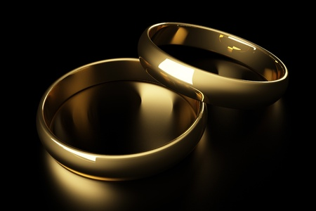 golden ring: 3d gold wedding ring lying on a black background