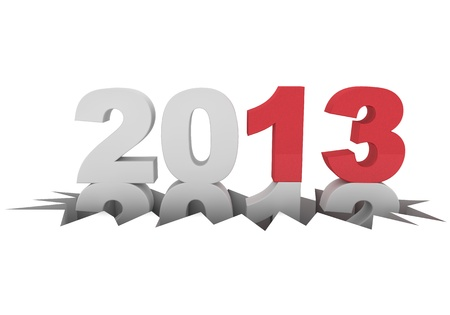 0 1 year: 3d rendering of the new year 2013 Stock Photo