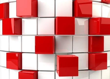 Three dimensional render of a abstract red and white cubes photo