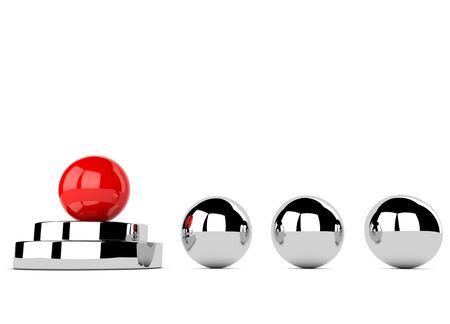 Koncepcja przywództwa z czerwonym i chromowanych kulek