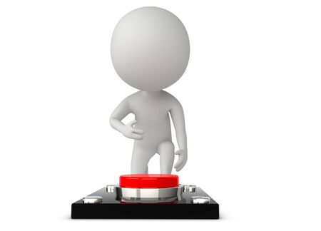 3d humanoid character try to press a button Stock Photo - 14920454