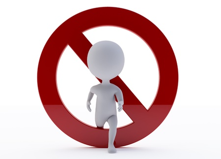 3d humanoid character with a red ban sign Stock Photo - 14920444