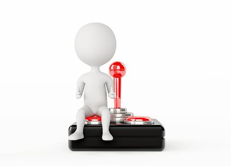 3d humanoid character sitting on a joystick photo