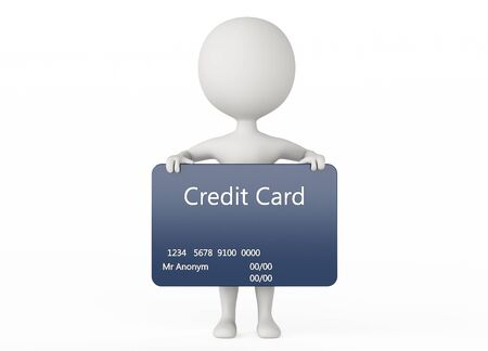3d humanoid character hold a credit card on white photo