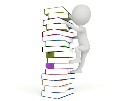 3d humanoid character climb on the books on white Zdjęcie Seryjne