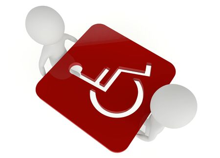handicap: 3d humanoid character hold a red handicapped symbol