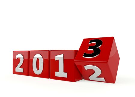 Nowy rok 2013 - rok 2012 Zmiana 2013 na białym tle Zdjęcie Seryjne