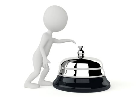 service bell: 3d humanoid character with a service bell on white
