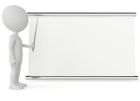 3d humanoid character with a empty signboard on white