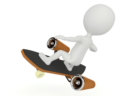 3d humanoid character fly on a skateboard on white