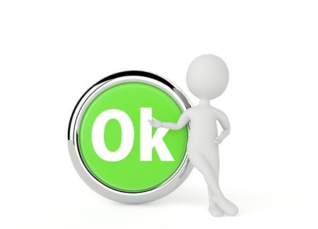 okey: 3d humanoid character show a ok button on white
