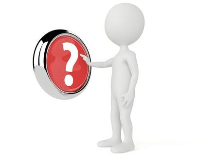 3d humanoidalne postaci wcisnąć przycisk znak zapytania na białym tle