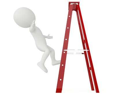 3d humanoid character falling from a ladder on white