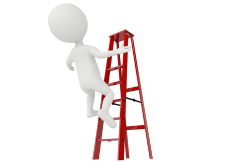 3d humanoid character falling from a red ladder on white photo