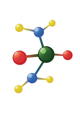 Atom model on the white background Illustration