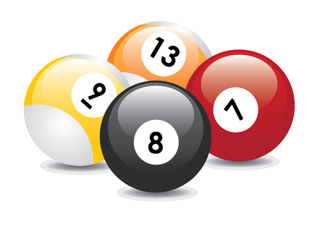 Four billiard balls with numbers: seven, eight, nine and thirteen.