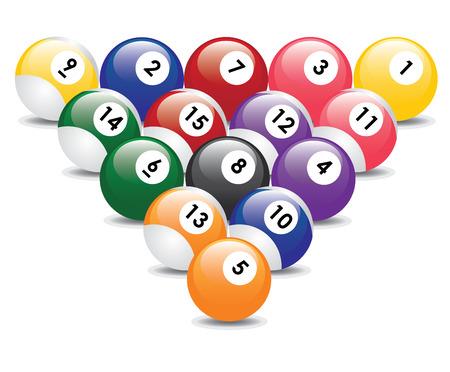 Triangle from fifteen billiard balls. Stock Vector - 8679661