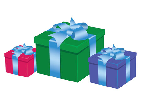 Three colored boxed with presents on the white background