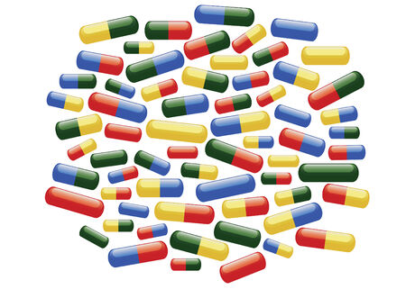 Scattering of coloured medical pills on the white background Stock Vector - 8774174