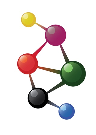 Coloured atom model on the white background