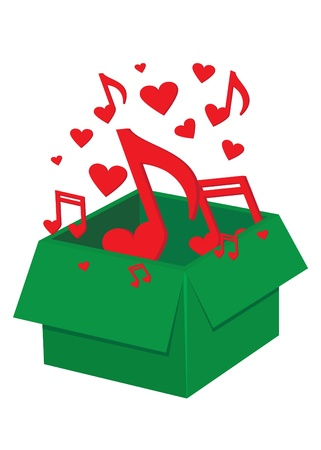 Green box with red lovely notes on the white background Vector