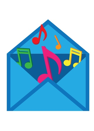 Blue letter with musical notes on the white background Vector