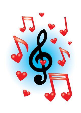 notes musicales: Red belles notes de musique sur le fond blanc