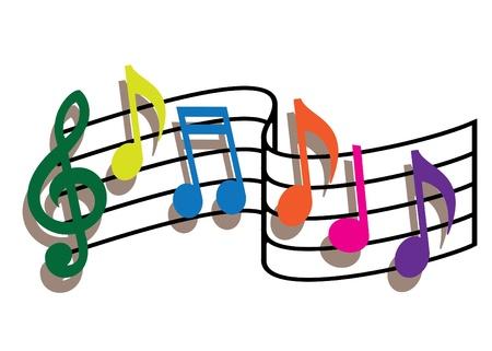 pentagrama musical: Notas de m�sica coloreadas sobre fondo blanco