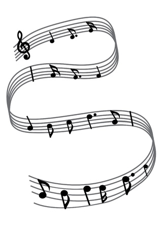 Black music notes on the white background