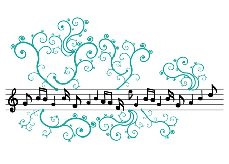 Black music notes with ornament on the white background