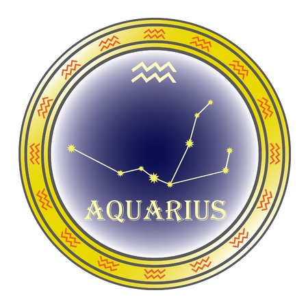zodiac sign aquarius in the circle on the white background Vector